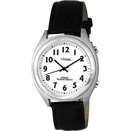Radio Controlled Mens Talking Watch with Leather Strap