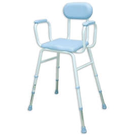 PU Moulded Perching Stool (with Padded Arms + Padded Back)