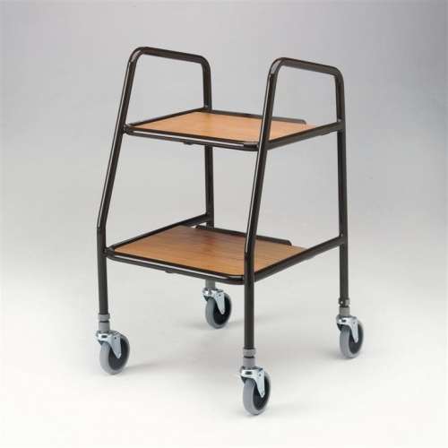 Height Adjustable Trolley with Wooden Trays