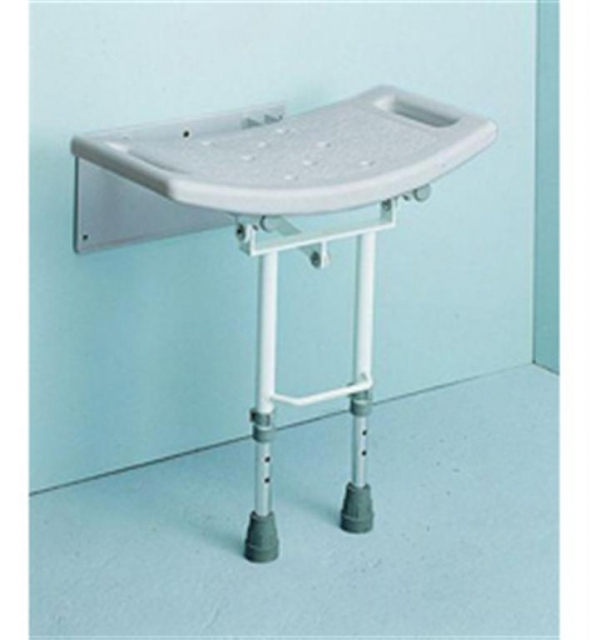 Wall Mounted Shower Seat With Drop Down Legs in Aluminium
