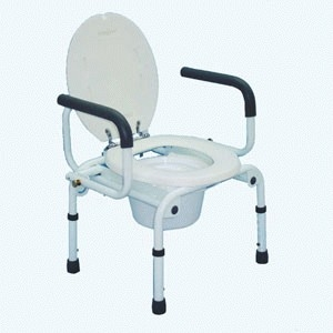 Heavy duty commode with swing down arms