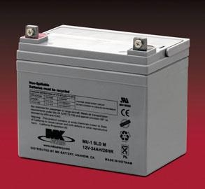 1 Pair MK SLA 12 Volt 34 Amp/Hour Batteries