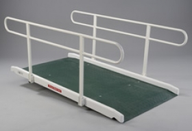 Glass Fibre Wide Access Ramp with Double Handrail