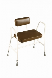 Bariatric Perching/Kitchen Stool with Tubular arms and padded back